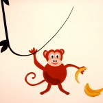 Monkey decal on Zola's wall