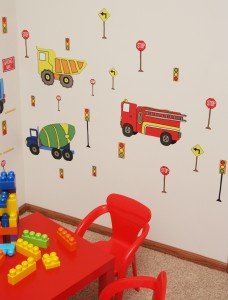 Big Work Trucks Rock the Playroom.